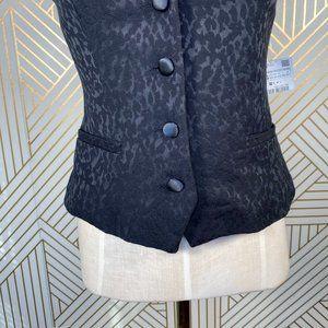 Zara Jackets & Coats - Zara Animal Print Jacquard Vest Overcoat in Black